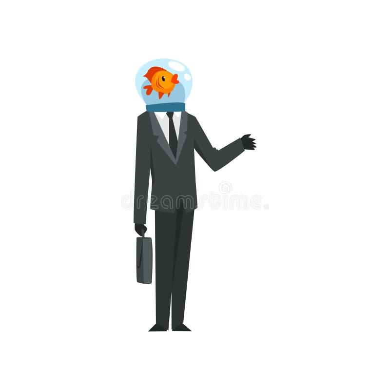 Affärsman med anseende för dräkt för affär för fiskhuvud bärande med portföljvektorillustrationen på en vit bakgrund royaltyfri illustrationer