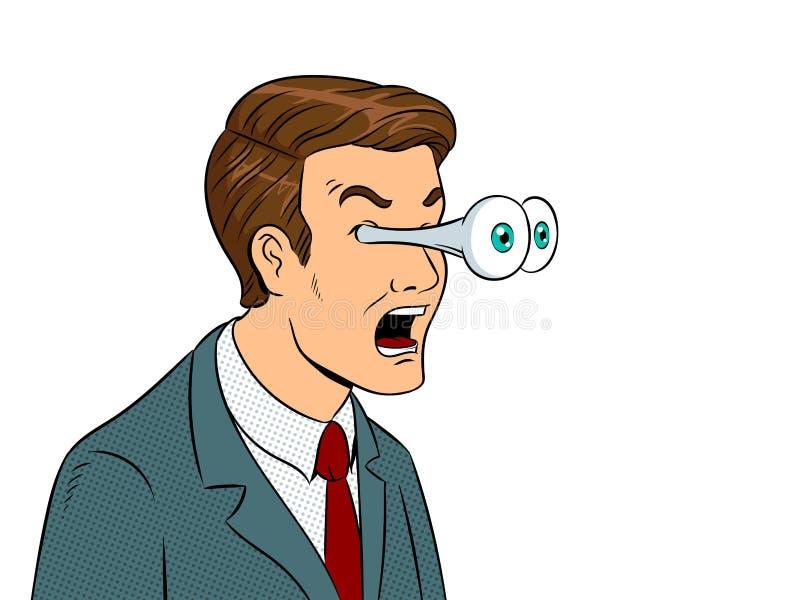 Affärsman med att poppa vektorn för ögonpopkonst stock illustrationer