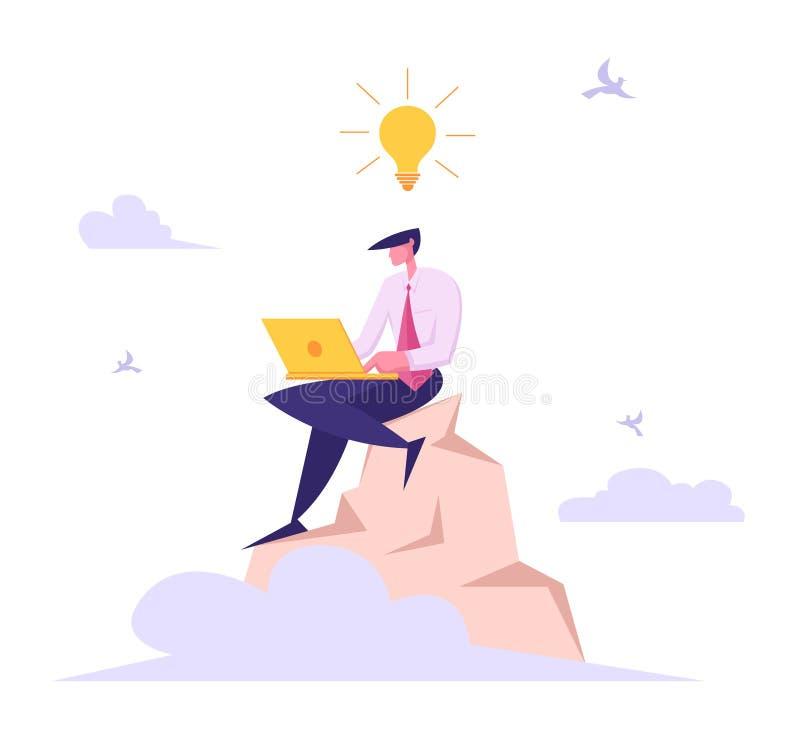 Affärsman med bärbar dator som arbetar på toppen av bergen Utvecklare med Creative Idea Light Bulb Coding på toppen royaltyfri illustrationer