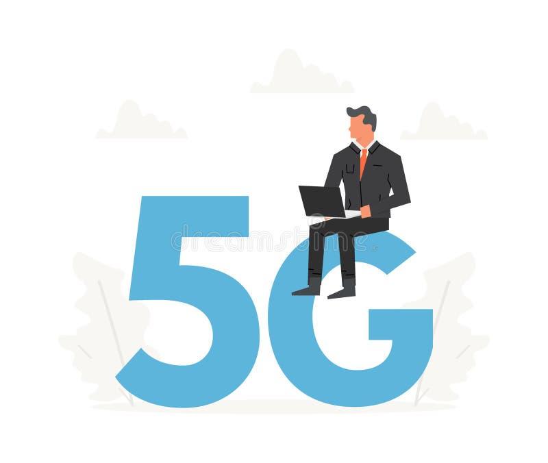 Affärsman med bärbara datorn som sitter på stora bokstäver 5G Nätverksradio för femte utveckling, internetteknologi stock illustrationer