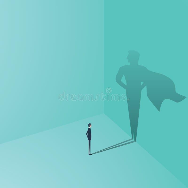 Affärsman med begrepp för superheroskuggavektor Affärssymbol av ambition, framgång, motivation, ledarskap, kurage stock illustrationer