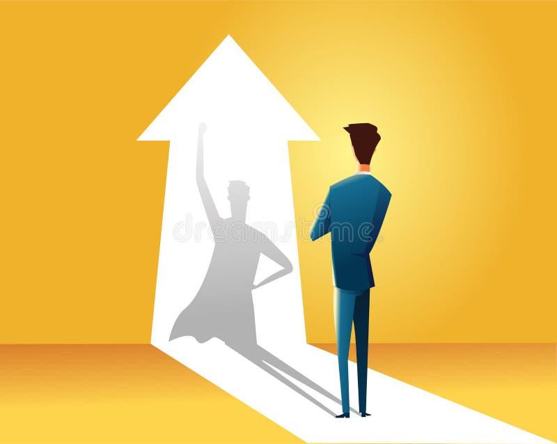 Affärsman med begrepp för superheroskuggavektor Affärssymbol av ambition, framgång, motivation, ledarskap, kurage vektor illustrationer