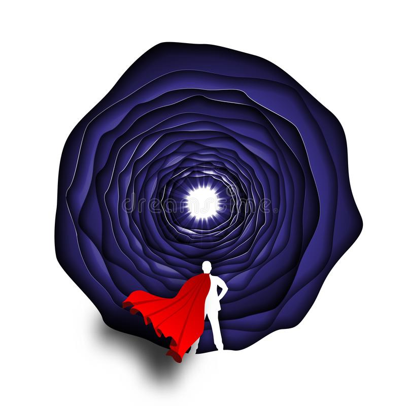 Affärsman med begrepp för vektor för superheropapperskonst Affärssymbol av ambitionframgångmotivationen royaltyfri illustrationer