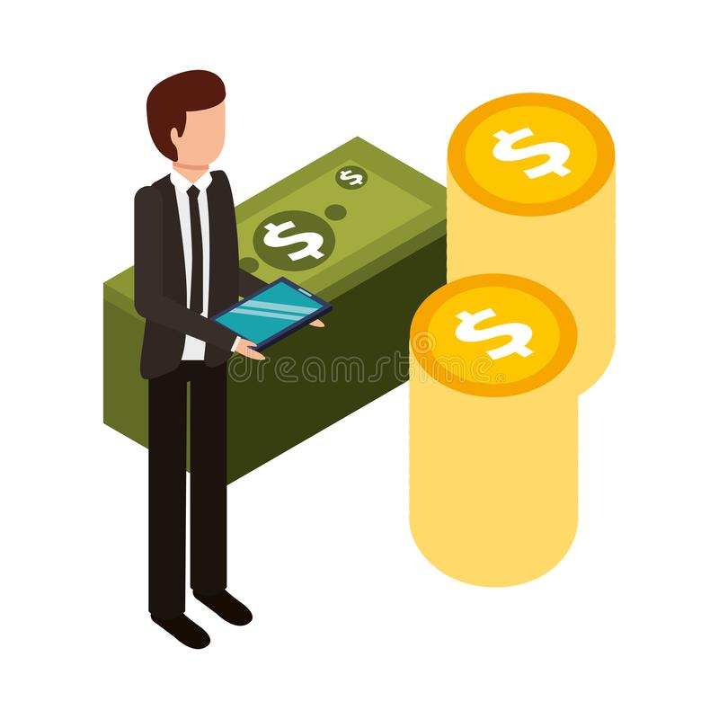 Aff?rsman med buntar av pengar vektor illustrationer