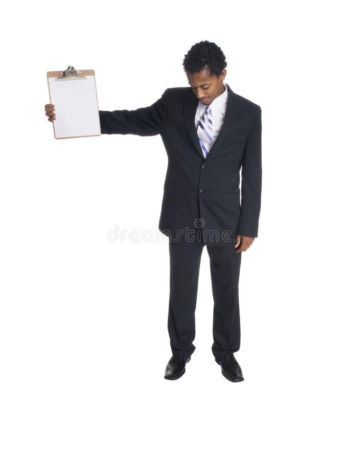 Affärsman med clipboarden royaltyfria foton
