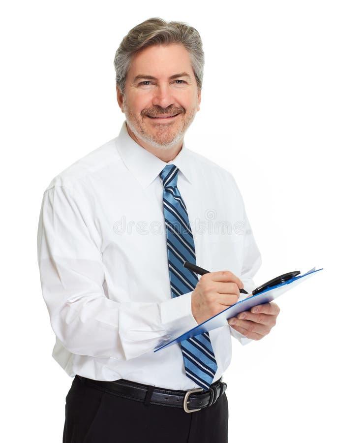 Affärsman med clipboarden royaltyfri bild