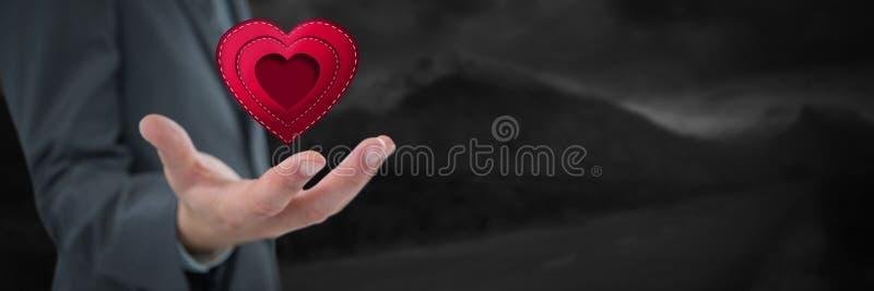 Affärsman med den öppen handen och hjärta vid landskap stock illustrationer