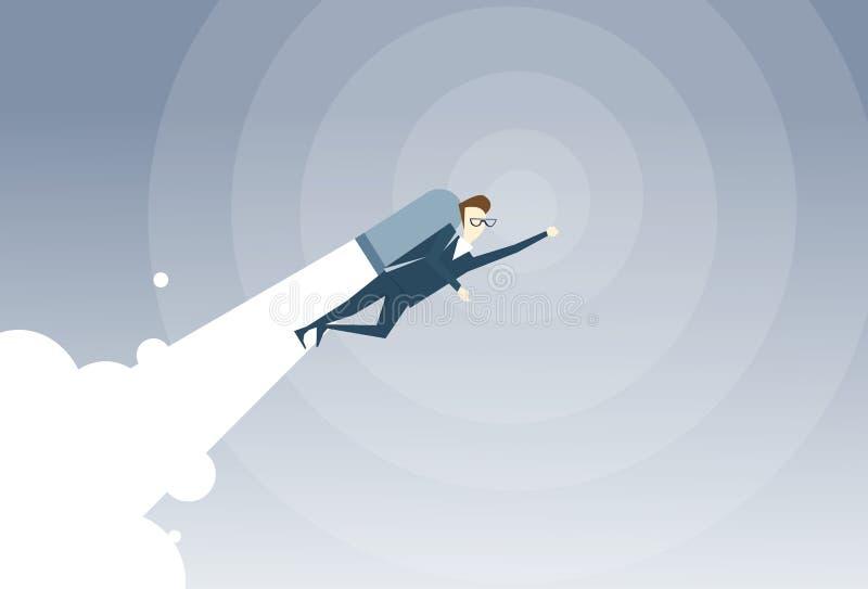 Affärsman med den Jet Pack Project Successful Startup flygaffärsmannen stock illustrationer