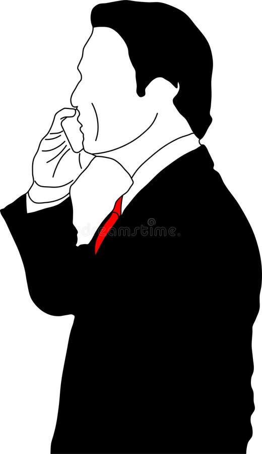 Affärsman med den mobila telefonen stock illustrationer