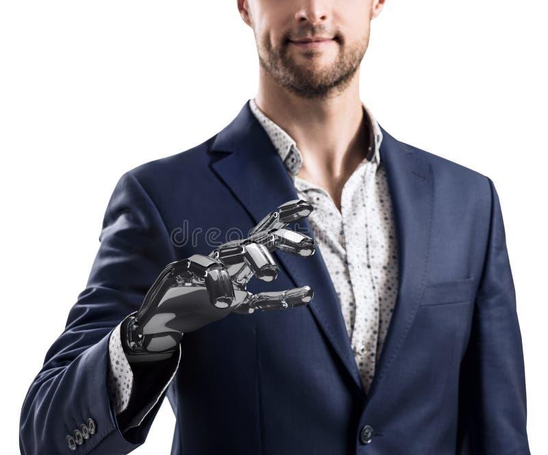 Affärsman med den robotic handen Protesbegrepp framförande 3d royaltyfri fotografi