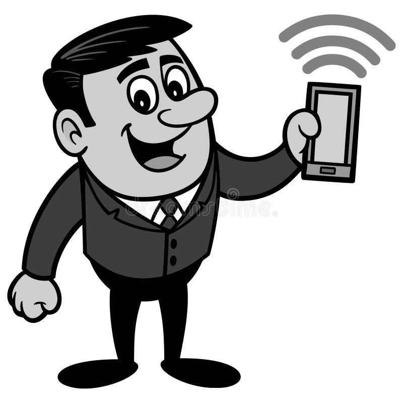 Affärsman med den Smartphone illustrationen stock illustrationer