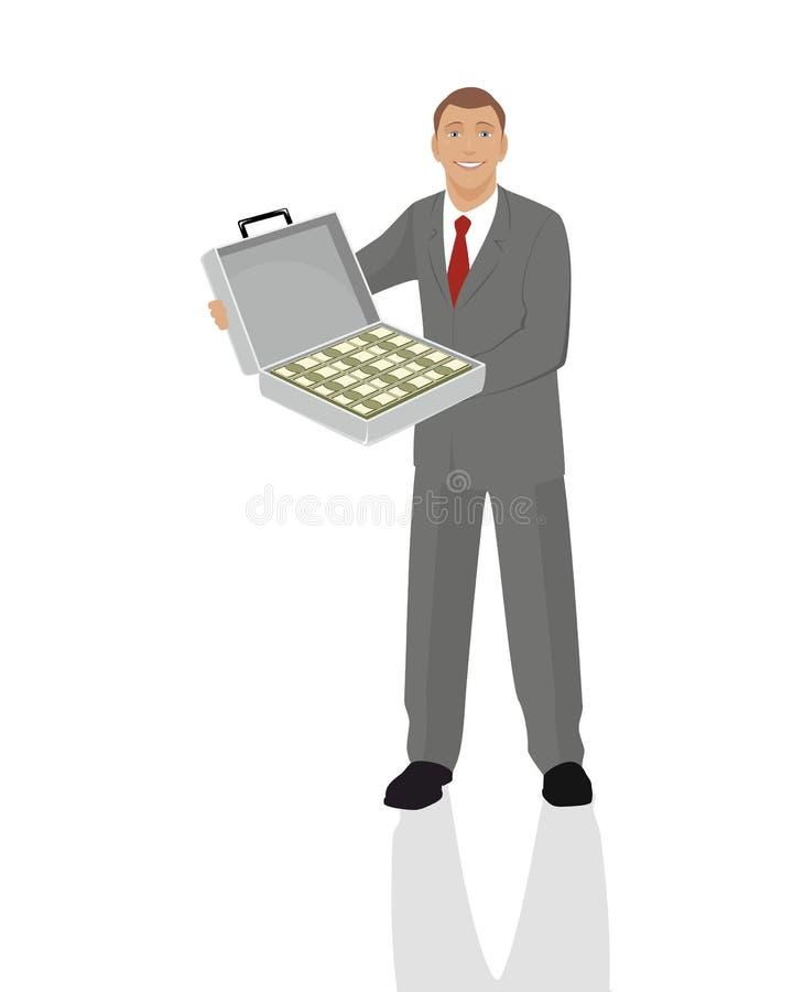 Affärsman med det fulla fallet av pengar vektor illustrationer