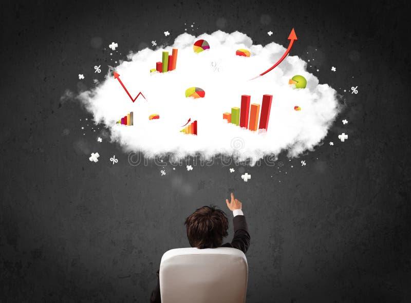 Affärsman med diagram i ett moln ovanför hans huvud fotografering för bildbyråer