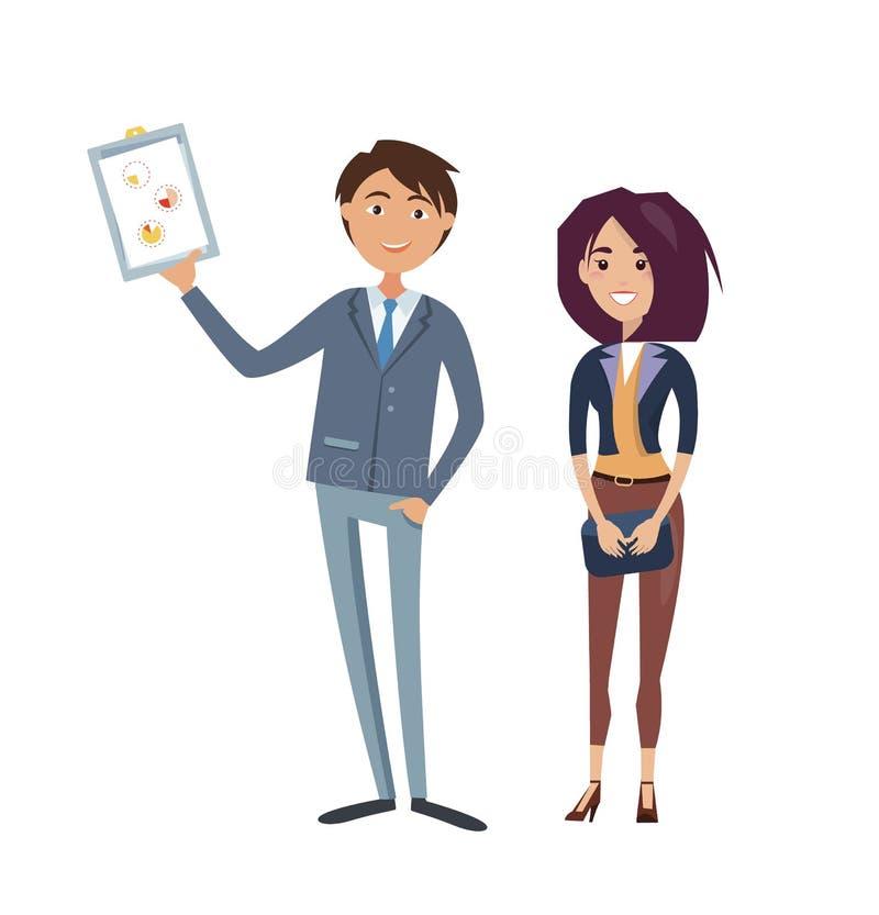Affärsman med diagrammet i hand, affärskvinna vektor illustrationer