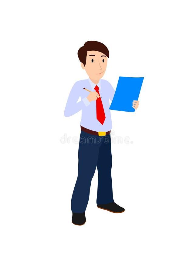 Affärsman med dokument och blyertspennan stock illustrationer