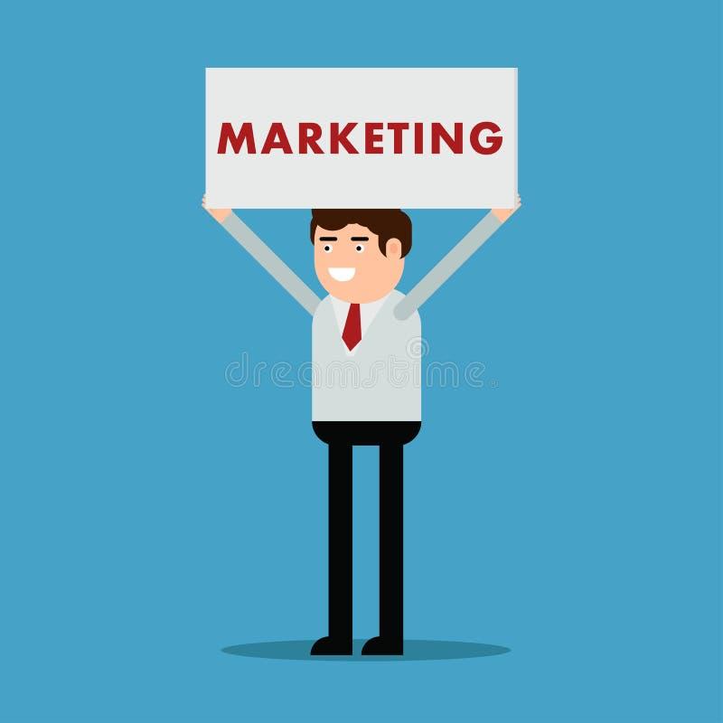 Affärsman med en affisch och en inskriftmarknadsföring vektor illustrationer