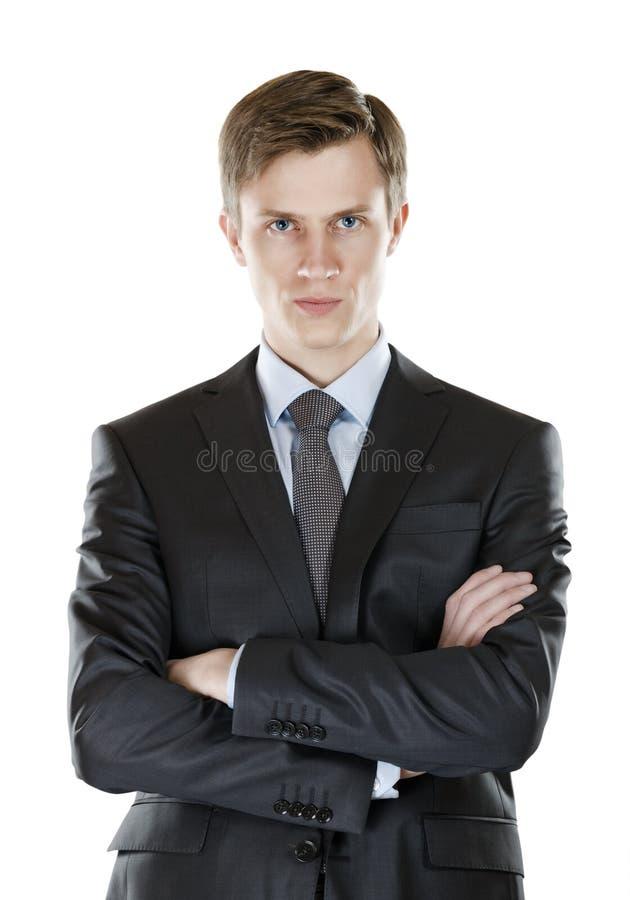 Affärsman med en barsk look royaltyfri fotografi
