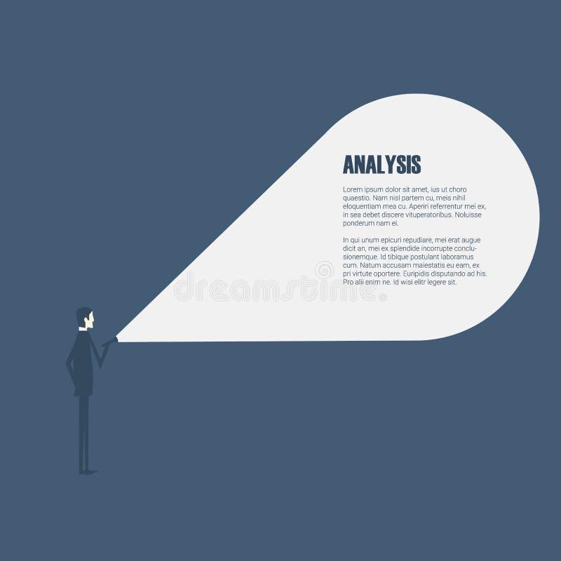 Affärsman med en illustration för ficklampaabstrakt begreppvektor, utrymme för text vektor illustrationer
