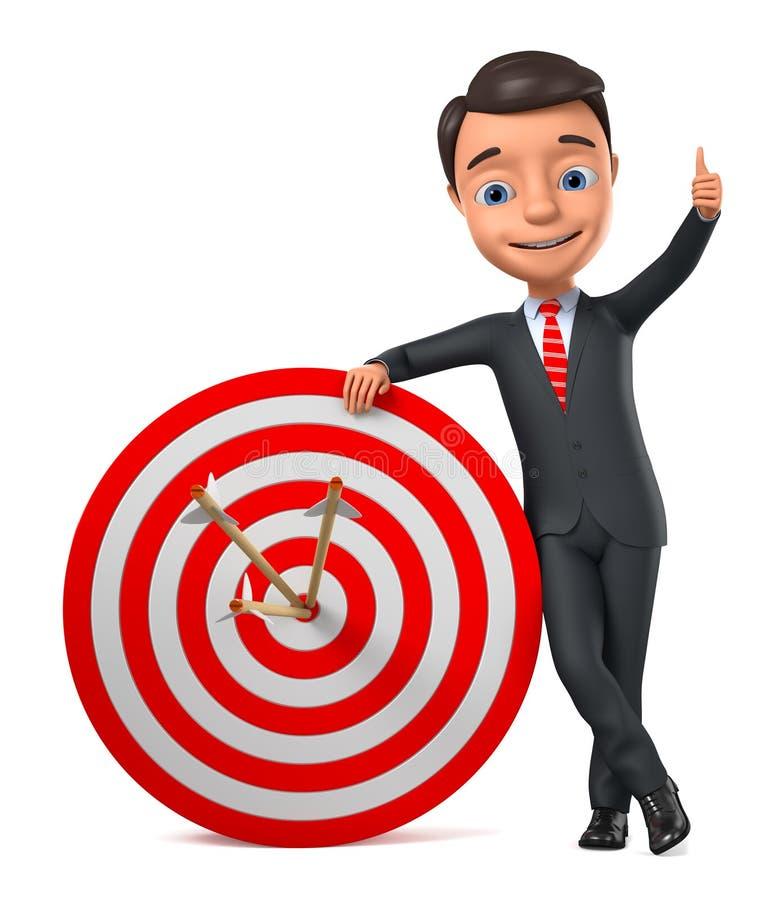 Affärsman med en måluppvisning tummar upp på en vit bakgrund illustrationen 3d framf?r stock illustrationer