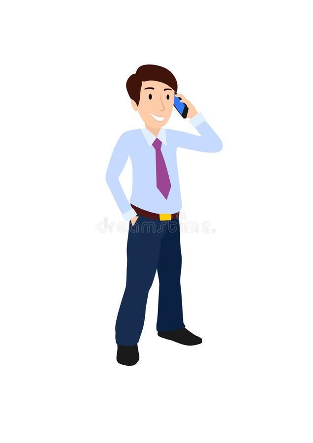 Affärsman med en mobiltelefon royaltyfri illustrationer