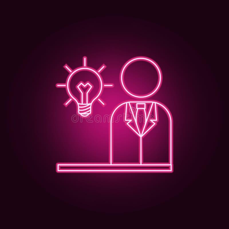 affärsman med en neonsymbol för ljus kula r Enkel symbol f?r websites, reng?ringsdukdesign, mobil app, informationsdiagram stock illustrationer
