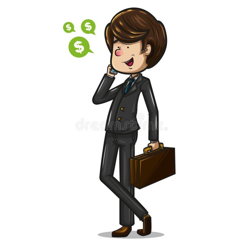 Affärsman med en portfölj som talar på telefonen stock illustrationer