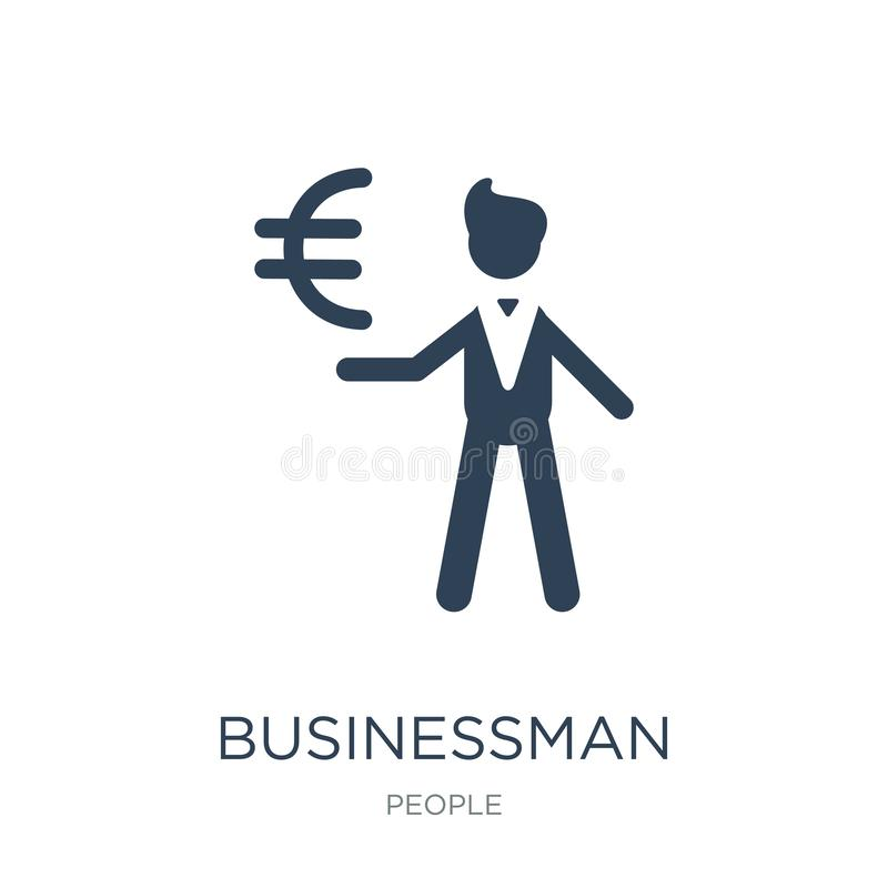 affärsman med eurovalutasymbolen i moderiktig designstil affärsman med eurovalutasymbolen som isoleras på vit bakgrund vektor illustrationer