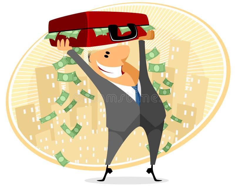 Affärsman med fallet av pengar royaltyfri illustrationer
