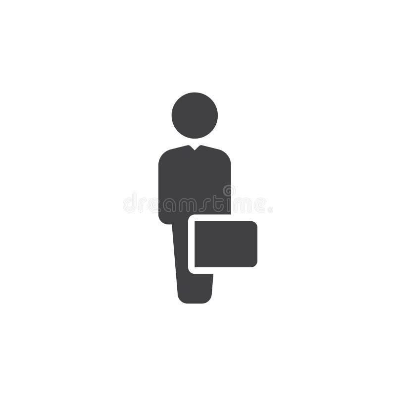 Affärsman med fallsymbolsvektorn, fyllt plant tecken, fast pictogram som isoleras på vit Symbol logoillustration royaltyfri illustrationer