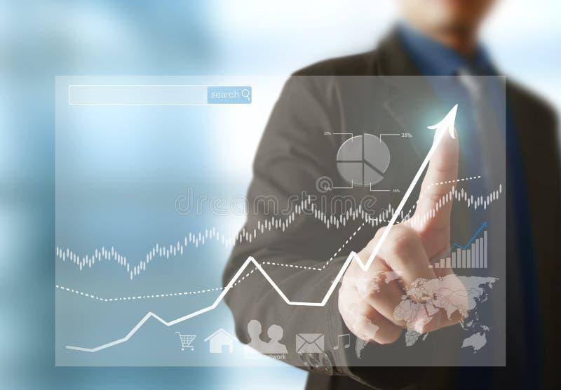Affärsman med finansiella symboler stock illustrationer