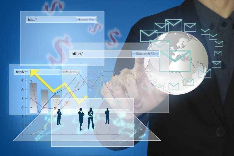 Affärsman med finansiella symboler som kommer från handen stock illustrationer