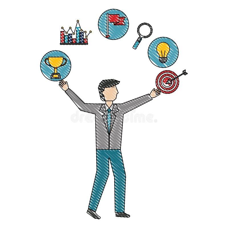 Affärsman med framgång för diagram för måltrofékula vektor illustrationer