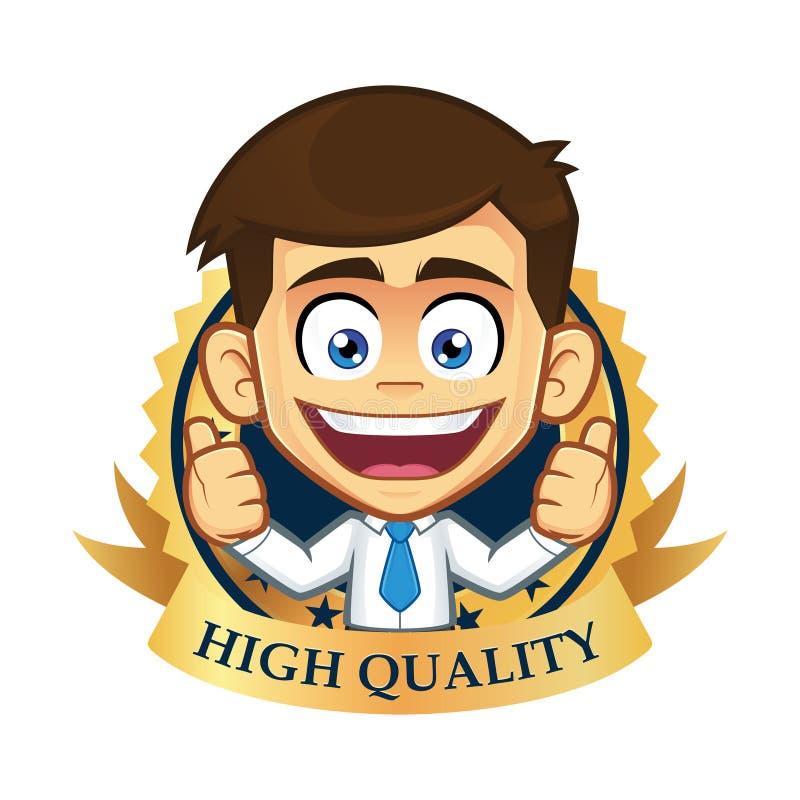 Affärsman med garantisymbolen stock illustrationer