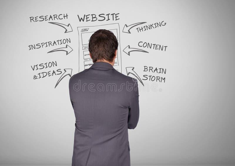 Affärsman med grafiska teckningar för websiteaffärsforskning royaltyfri illustrationer