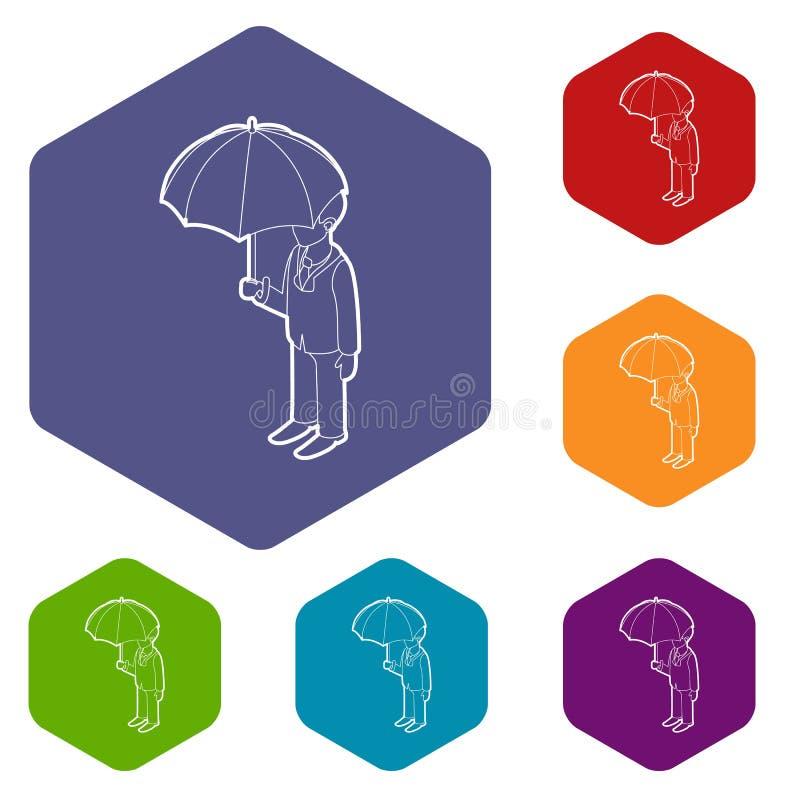 Affärsman med hexahedron för paraplysymbolsvektor stock illustrationer