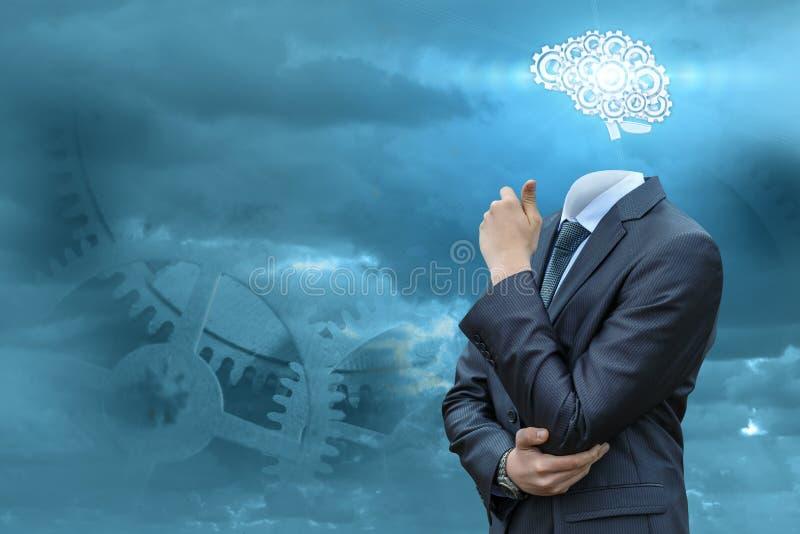 Affärsman med hjärnor arkivbilder