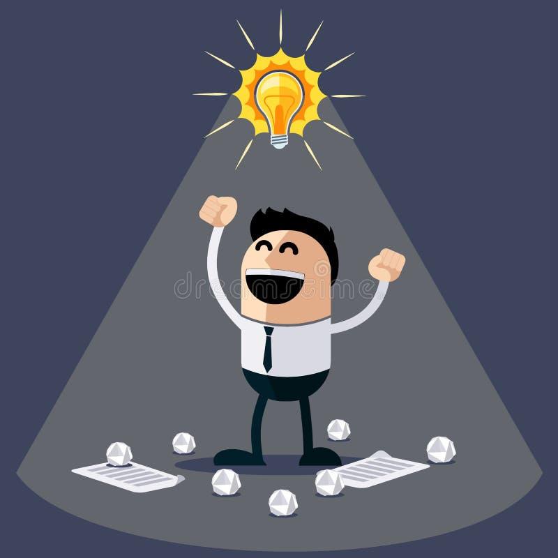 Affärsman med idéer Lyckligt roligt tecken royaltyfri illustrationer