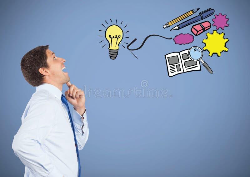 Affärsman med idérika affärsdiagramteckningar arkivbilder