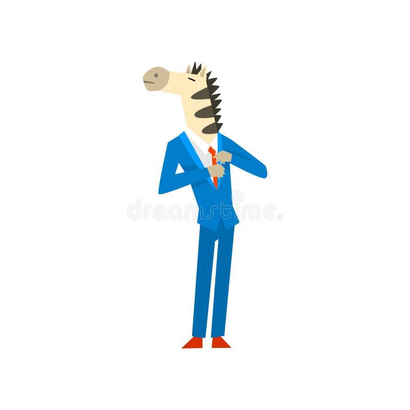 Affärsman med illustrationen för vektor för kläder för sebrahuvud den bärande bärande moderiktiga på en vit bakgrund royaltyfri illustrationer