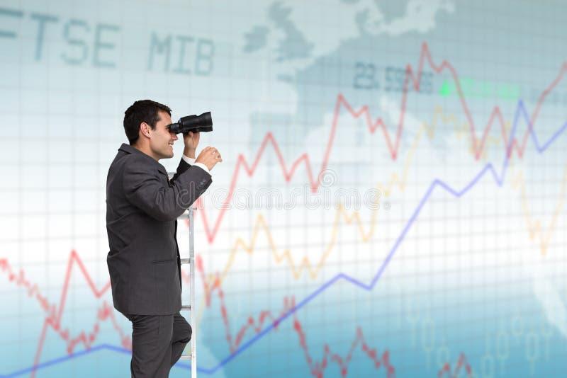 Affärsman med kikare på stege mot grafisk bakgrund royaltyfri illustrationer