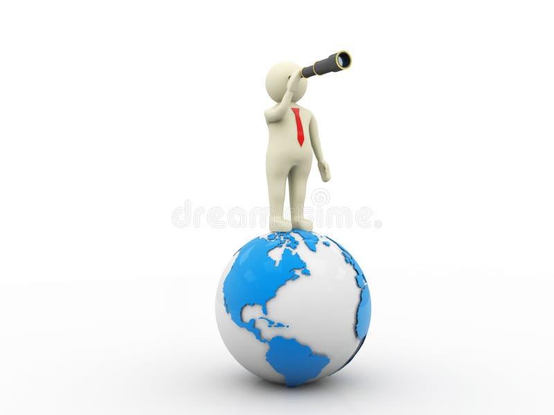 Affärsman med kikare som överst står av jordklotet 3d framför royaltyfri illustrationer