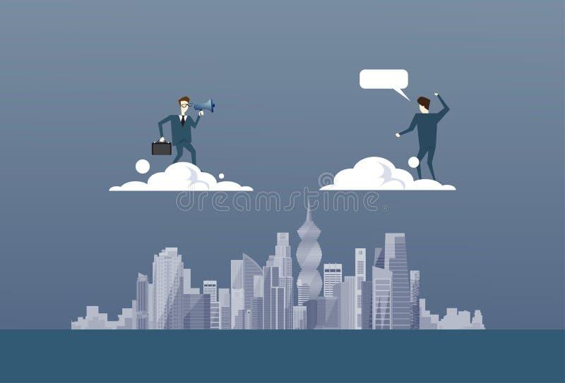 Affärsman med kikare som ser begreppet för affärsmanPartner On Cloud det framtida lyckade partner vektor illustrationer