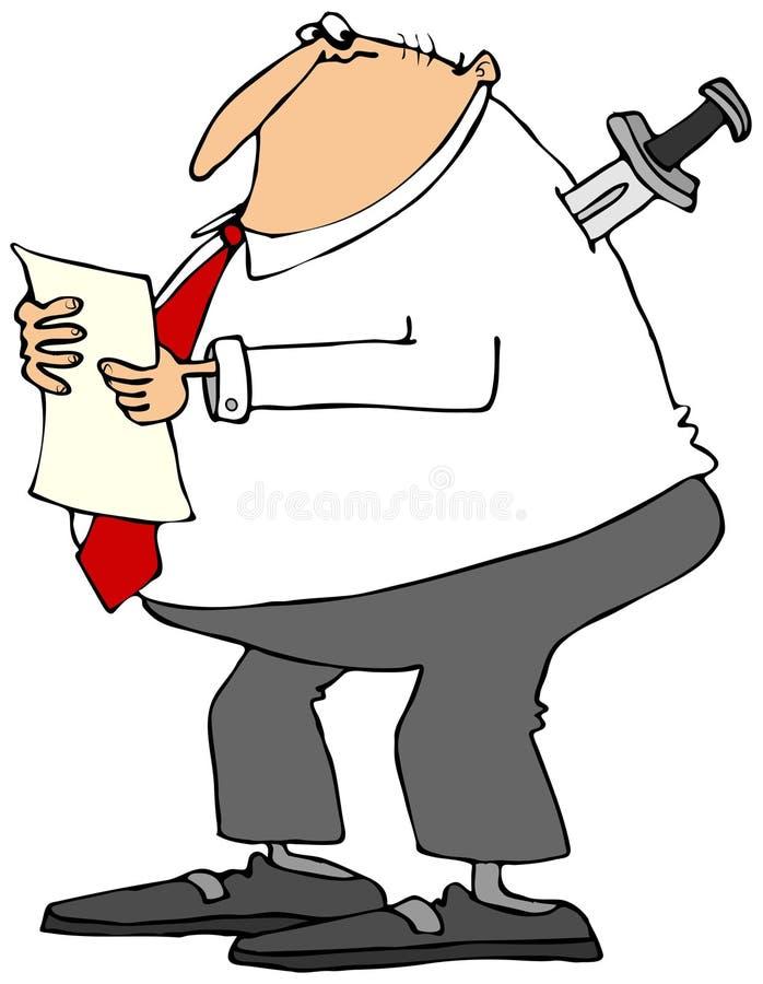 Affärsman med kniven i baksida royaltyfri illustrationer