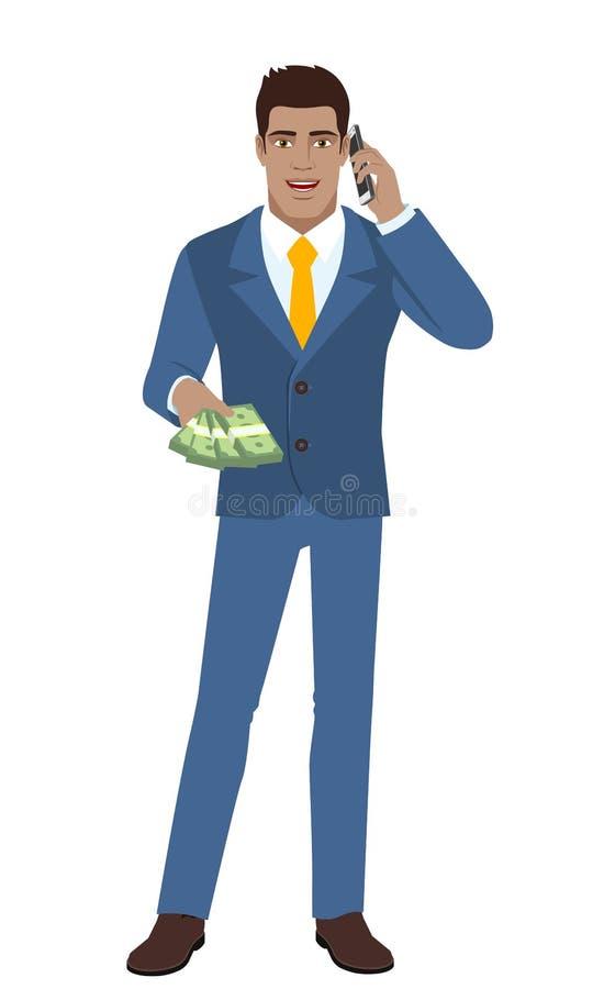 Affärsman med kontanta pengar som talar på mobiltelefonen vektor illustrationer