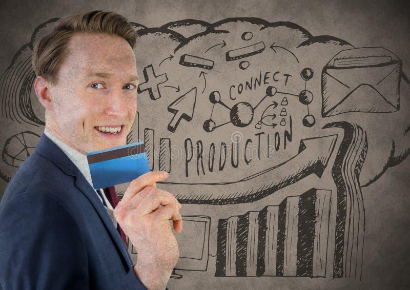 Affärsman med kreditkorten mot brun bakgrund med produktionklotter- och grungesamkopieringen royaltyfri illustrationer