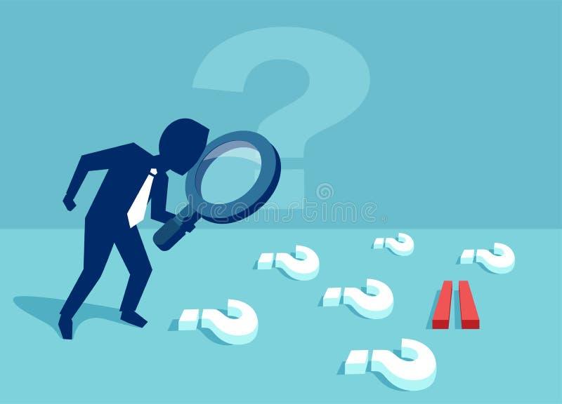 Affärsman med många frågor som söker för ett svar royaltyfri illustrationer