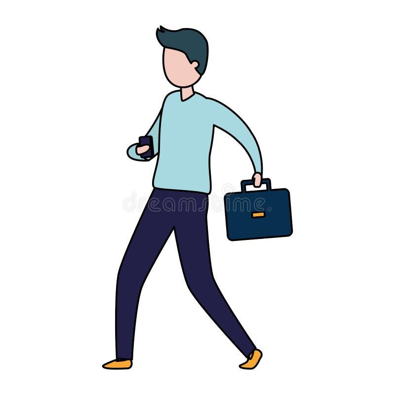 Affärsman med mobilen och portföljen vektor illustrationer