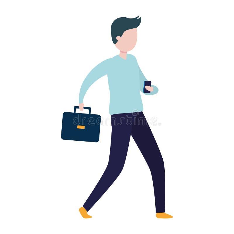 Affärsman med mobilen och portföljen stock illustrationer