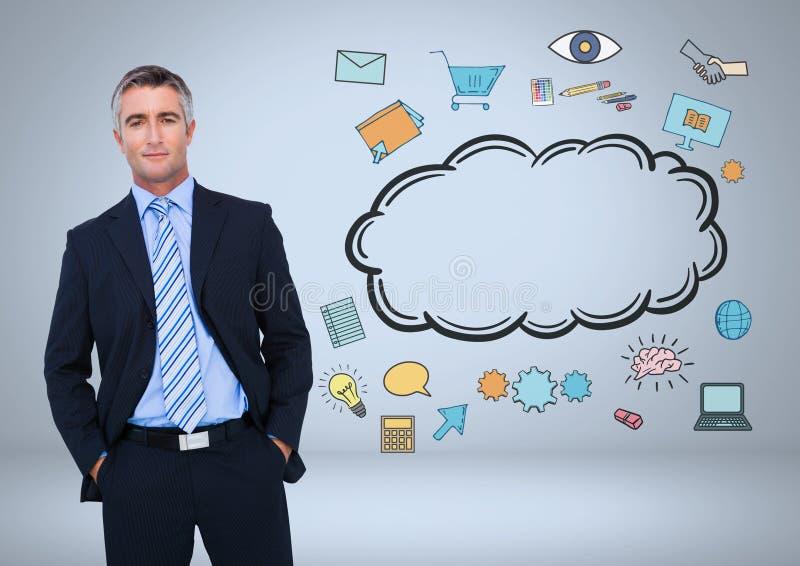 Affärsman med molnet och online-grafiska teckningar för affär arkivfoton