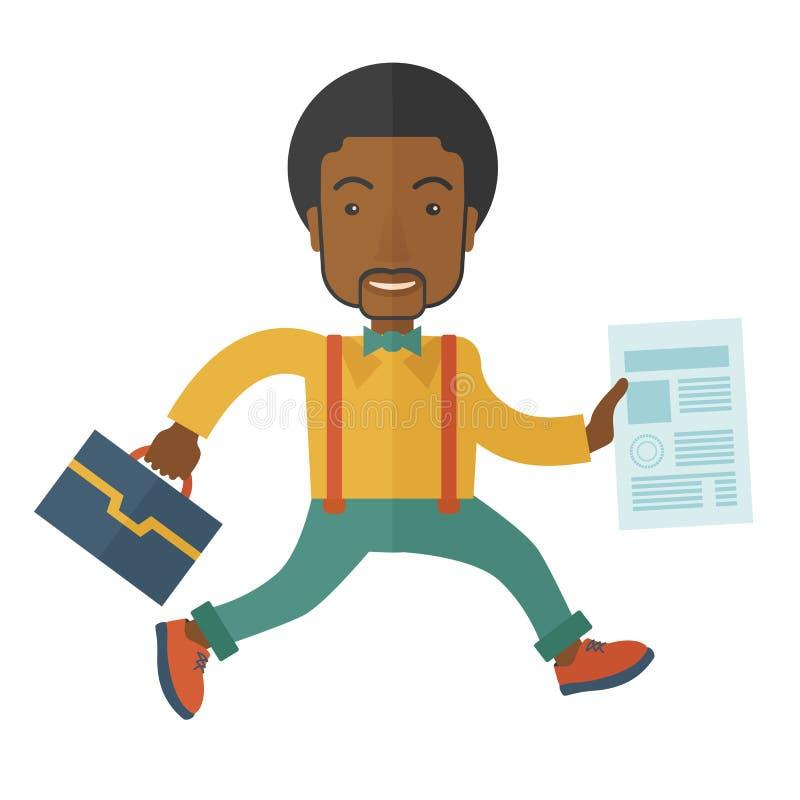 Affärsman med påsen och papper stock illustrationer